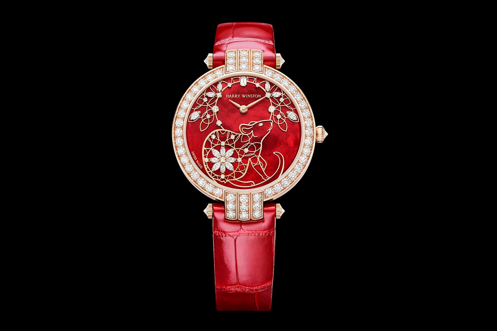 Часы Harry Winston Premier Chinese New Year Automatic 36mm из розового золота с перламутром и 109 бриллиантами общим весом 2.91ct