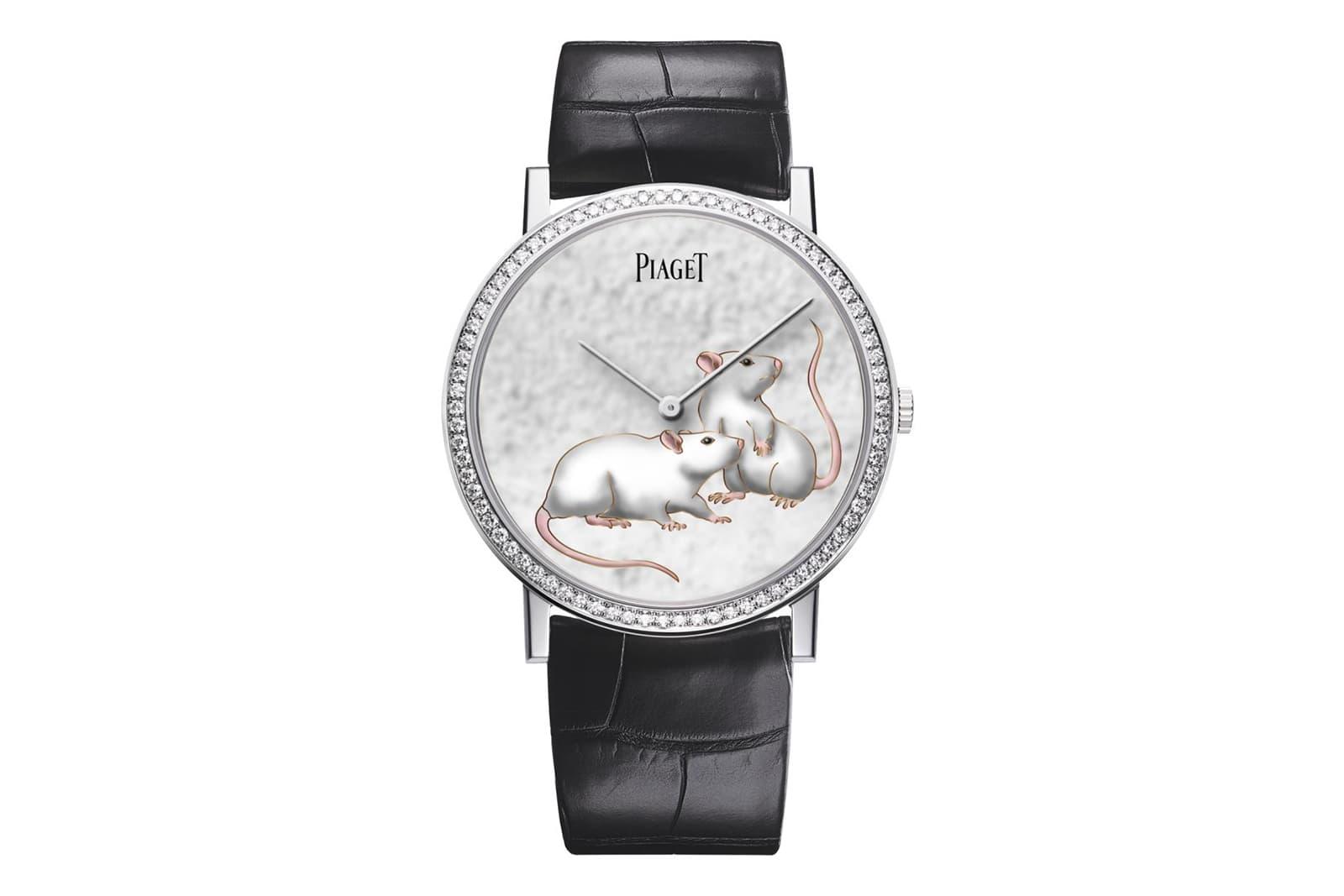 Часы Piaget Altiplano из белого золота с эмалью и 78 бриллиантами общим весом 0.70ct
