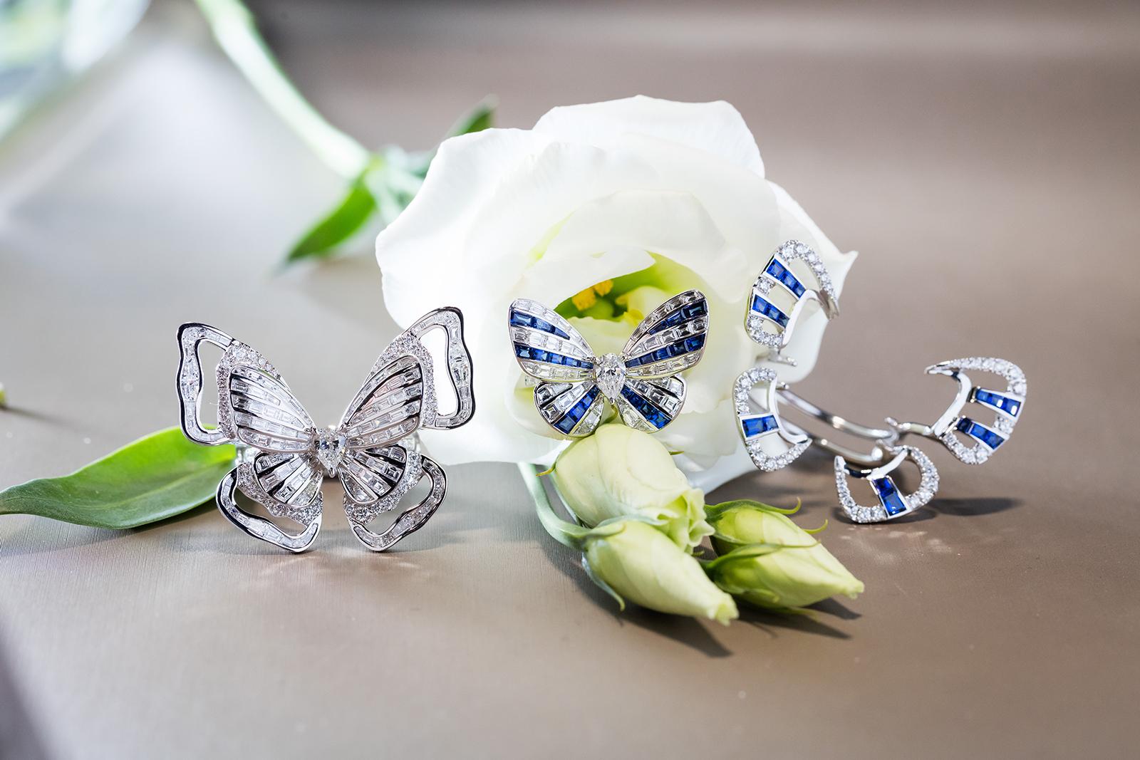 Кольца Stenzhorn 'Butterfly Lovers' из белого золота с сапфирами и бриллиантами