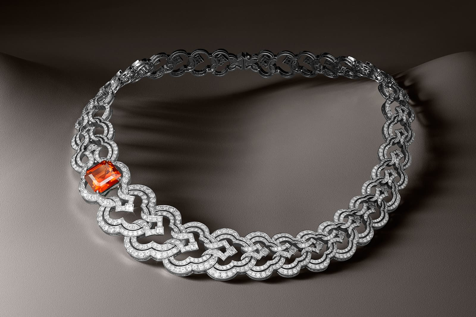 Louis Vuitton Conquêtes collection necklace with 16.82ct mandarin garnet and diamonds in white gold