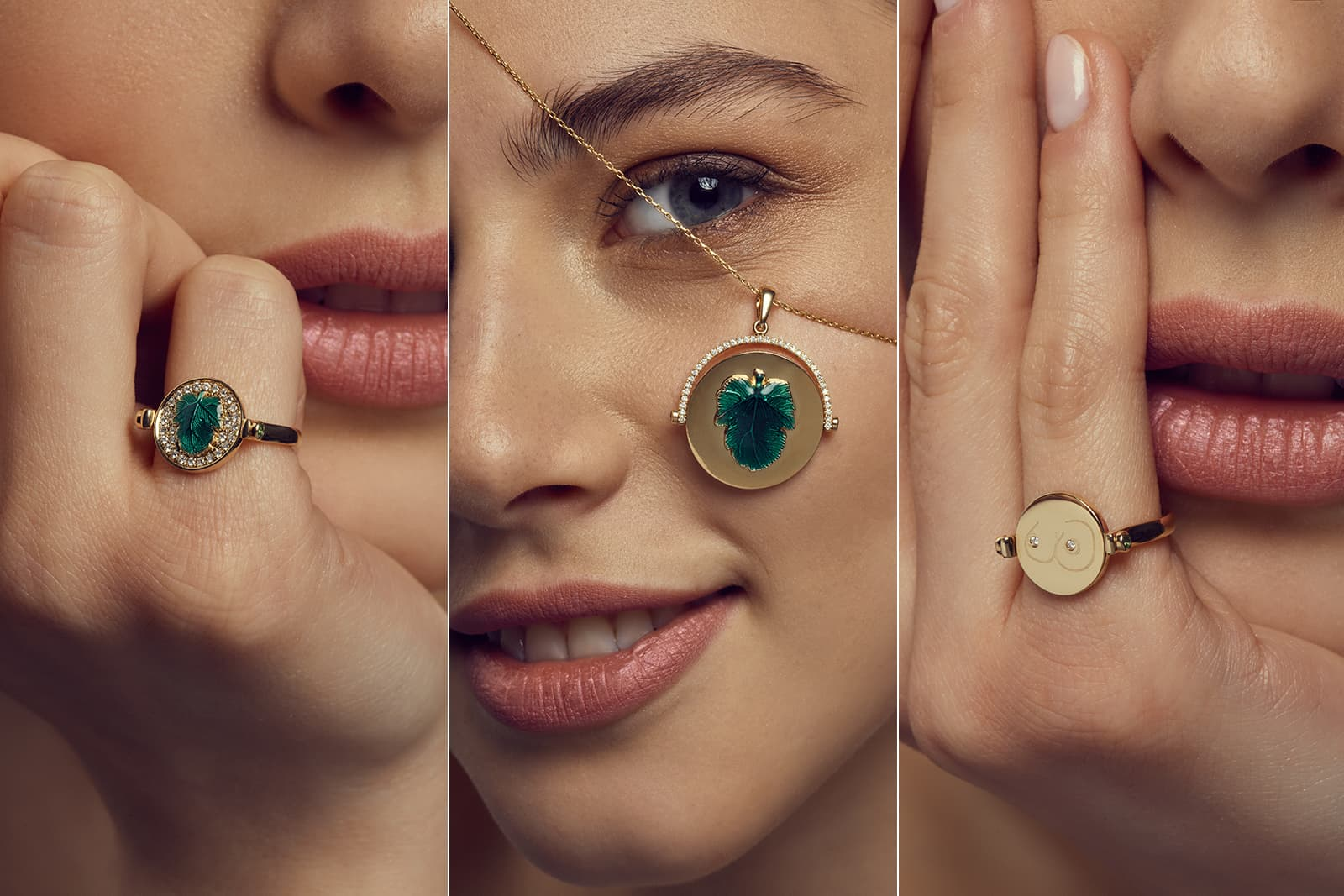 NeverNot Hide n Seek collection Ready 2 Tease ring and Ready 2 Discover pendant, both with diamonds and malachite in yellow gold