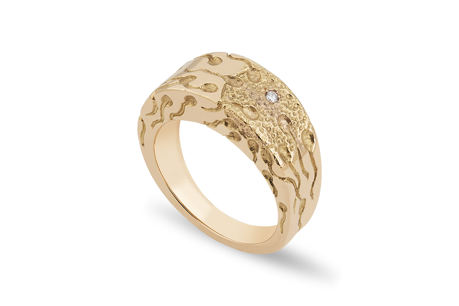Solange Azagury-Partridge Sentimentals collection Miracle ring with diamond in yellow gold