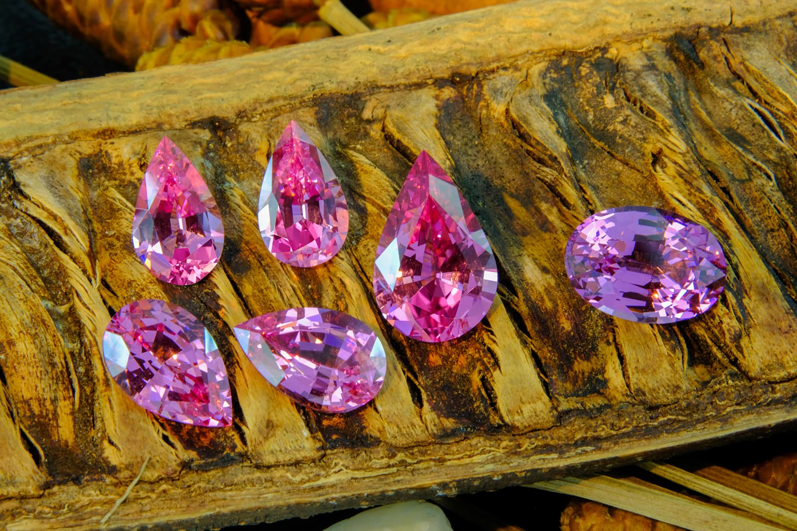 Vladyslav Y. Yavorskyy pink spinel (clockwise from top) pair of pear cuts totaling 5.50ct, 4.96ct pear cut, 4.52ct oval cut, and pair of pear cuts totaling 7.76ct