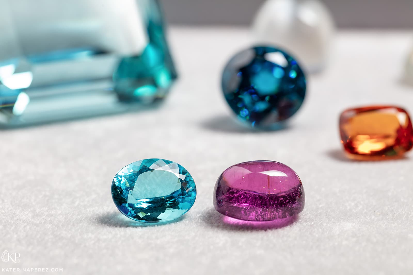 Two tourmalines from Mozambique, 16 cts and 24 cts, available at P&P Gems. Photo by Simon Martner