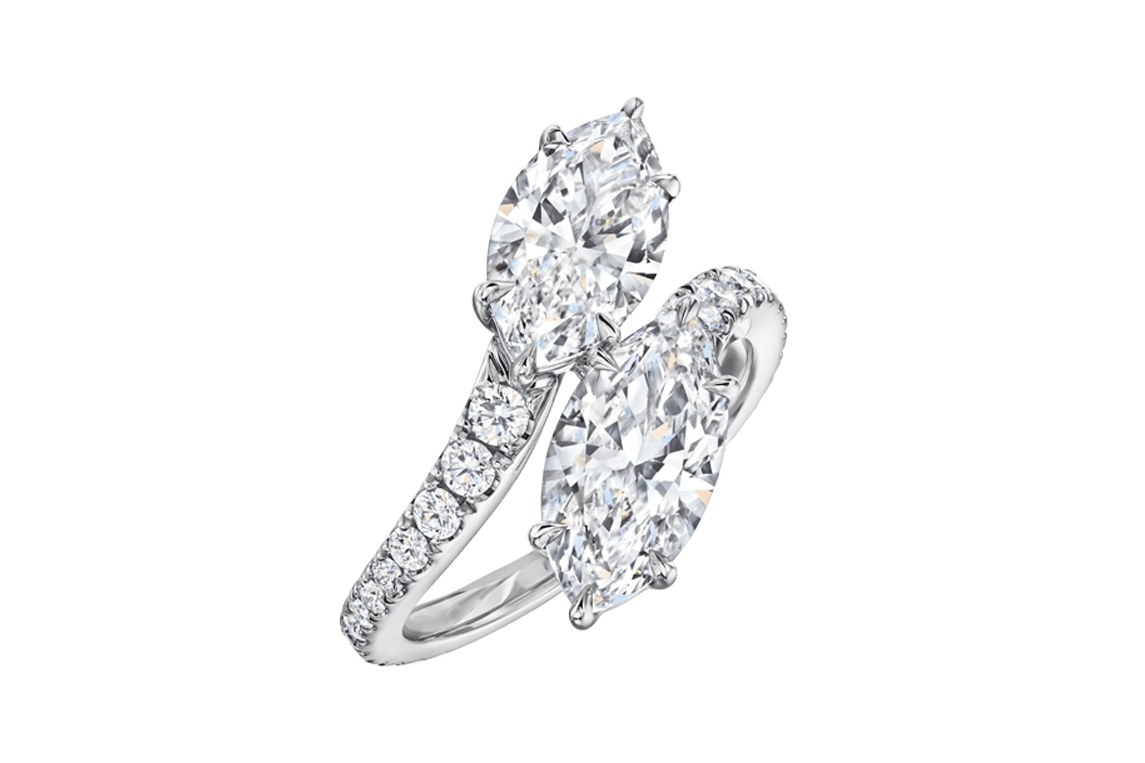 Harry Winston Bridal Couture collection toi et moi ring with 1.51ct marquise cut diamonds in platinum