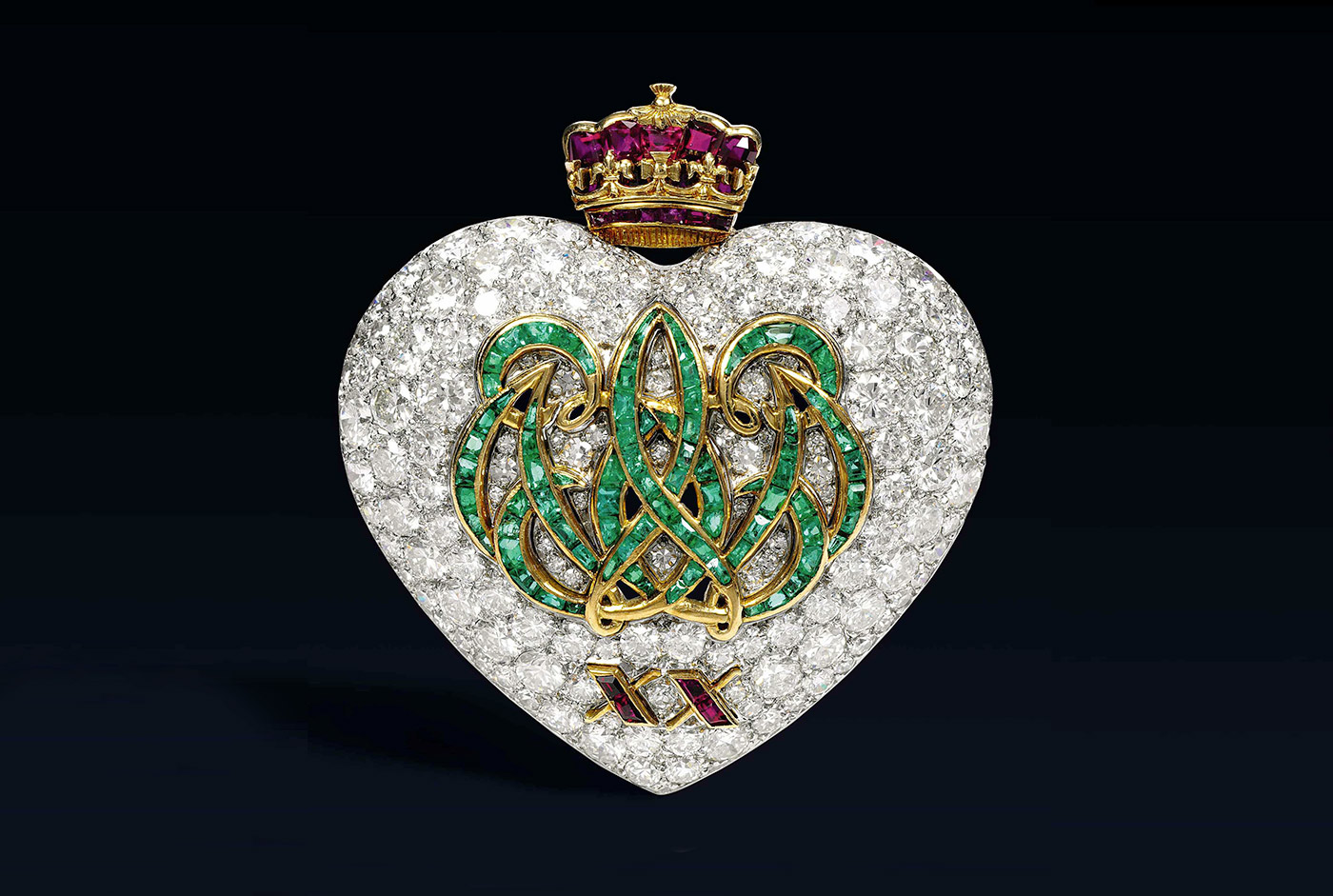 Wallis Simpson's heart motif brooch with diamonds, emeralds and rubies in yellow gold