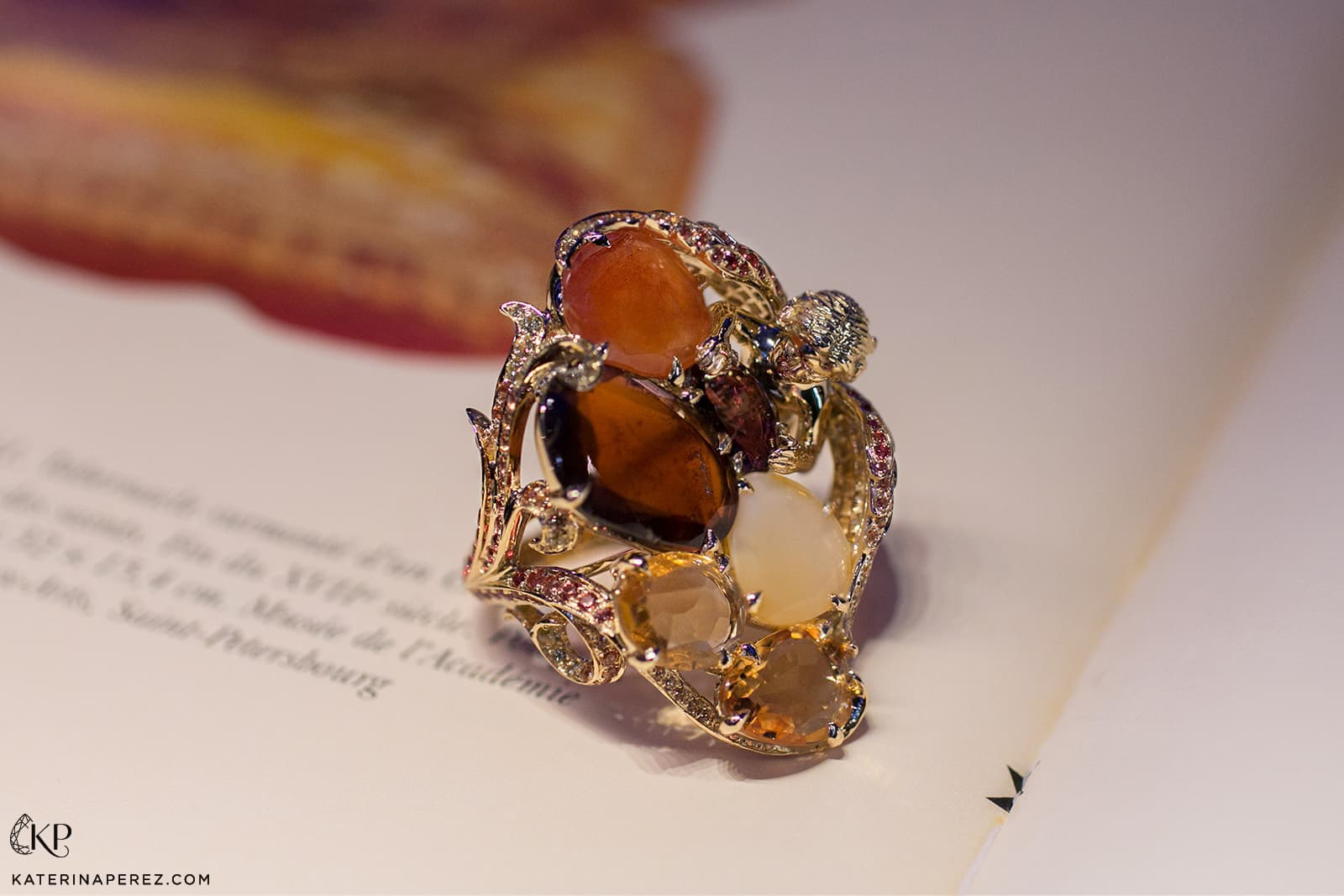 Lydia Courteille La Chambre d'Ambre collection Angel ring with 2.85ct of yellow and orange sapphires, garnets, citrines, chalcedony, and yellow opal in yellow gold and titanium
