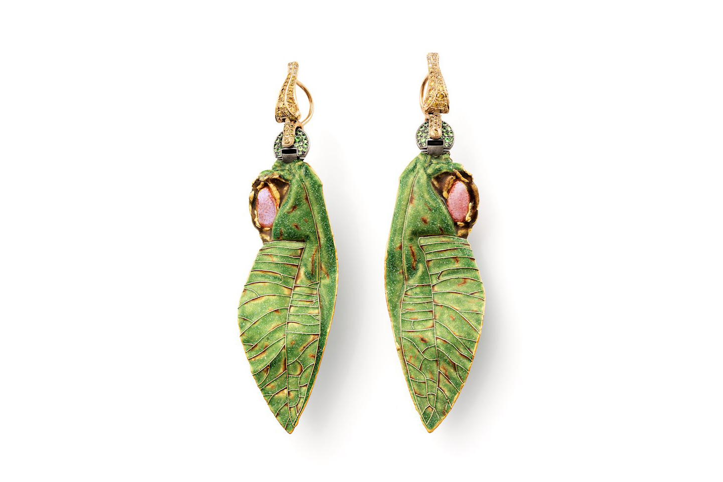Otto Jakob Tettix earrings with tsavorites, fancy yellow and light brown diamonds, vitreous enamel and plique-à-jour enamel in painted yellow gold