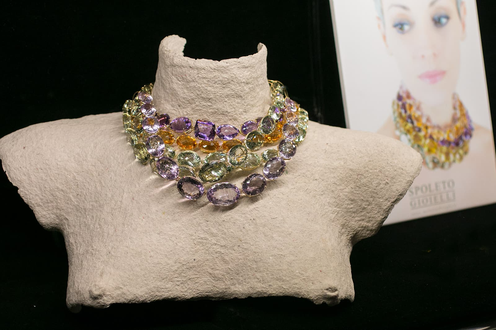 Spoleto Gioielli necklaces with amethysts, prasiolites and citrines in yellow gold