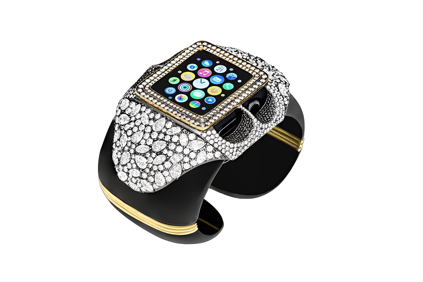 Margot McKinney Apple Watch cuff bracelet with over 25 cts of diamonds