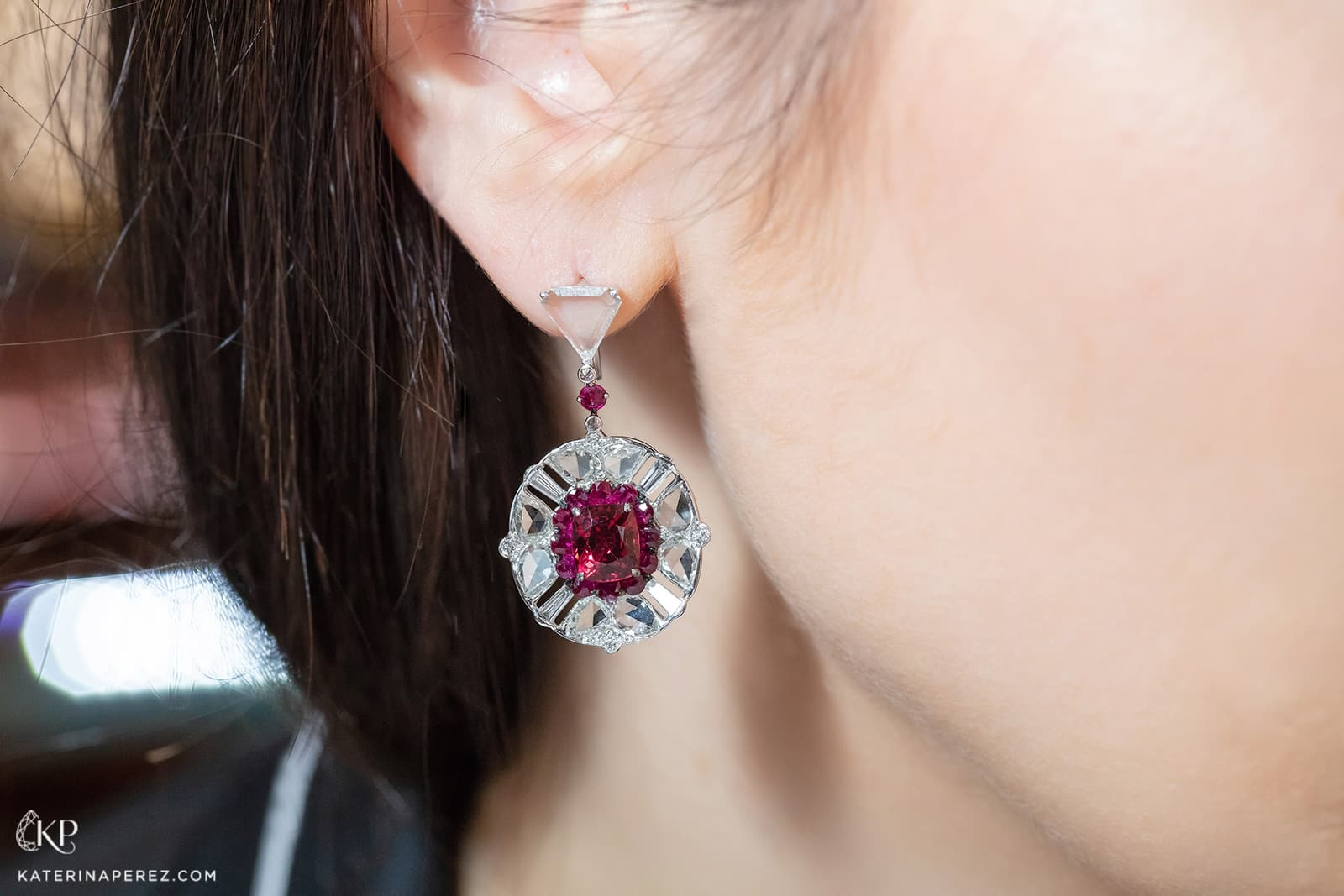 VAK earrings with non-treated Burmese spinel, non-treated rubies, and rose, baguette and brilliant cut diamonds