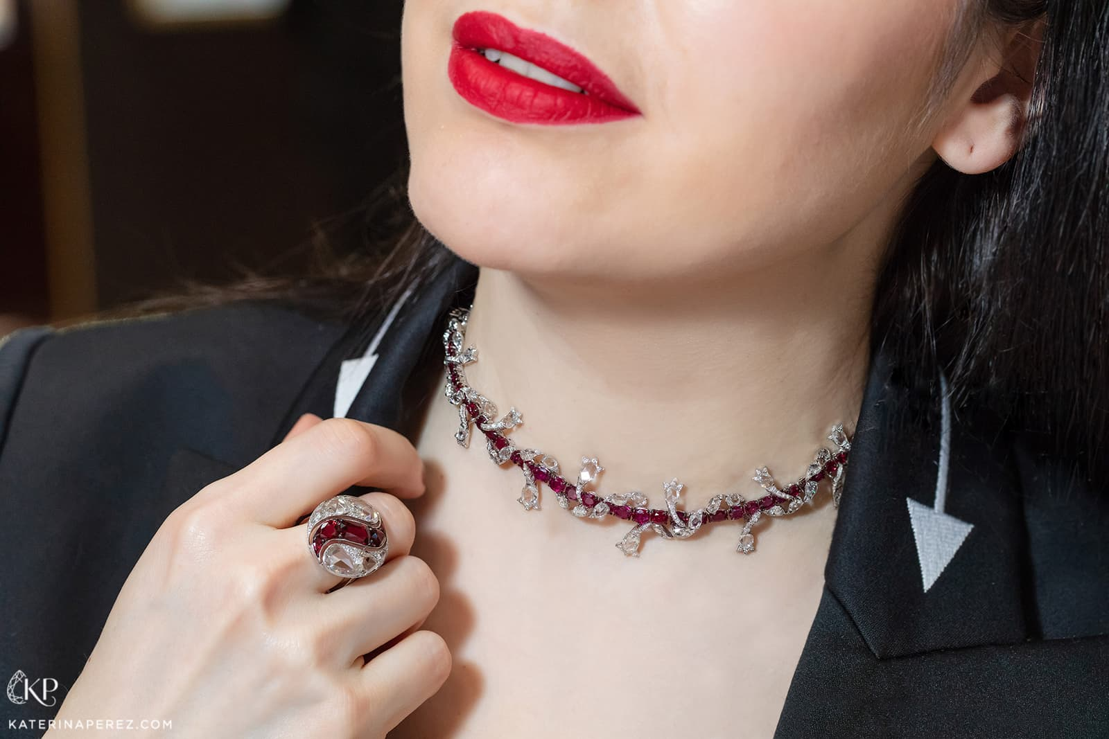 VAK necklace and ring with rubies and diamonds