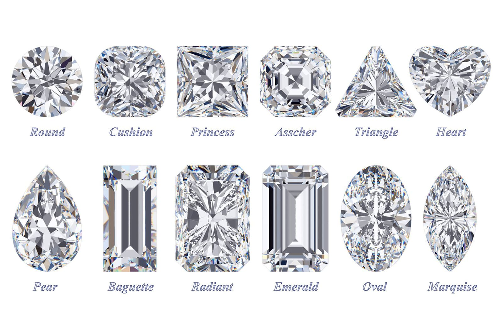 A selection of the most popular diamond and gemstone cuts