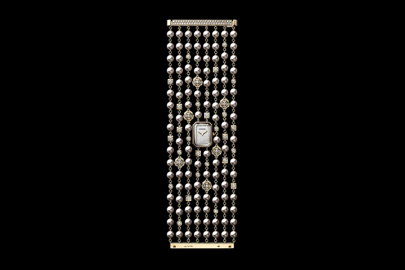 Chanel Watches 'PREMIERE CAMELIA CUFF' with diamonds and 106 Akoya pearls in yellow and white gold