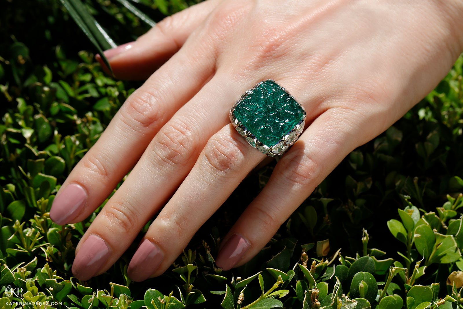 Bayco ring with carved Zambian emerald and diamonds