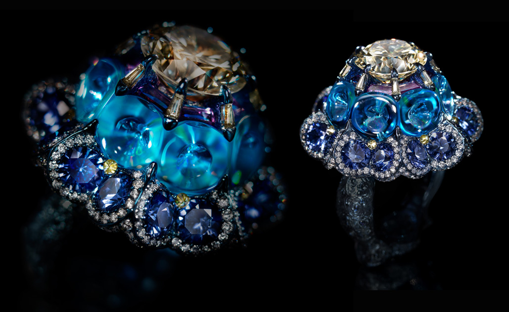 Ring Moonlit Waltz with yellow diamond, blue topaz and sapphires created by Wallace Chan in 2015