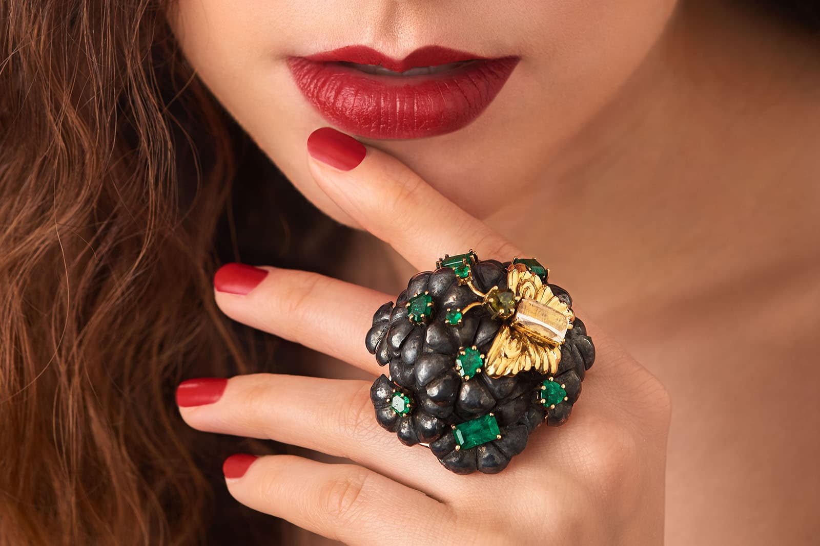 Brummé Tu Felix Austria ring. All of the gems - emeralds, moonstone and sphene - are from the Austrian Alps