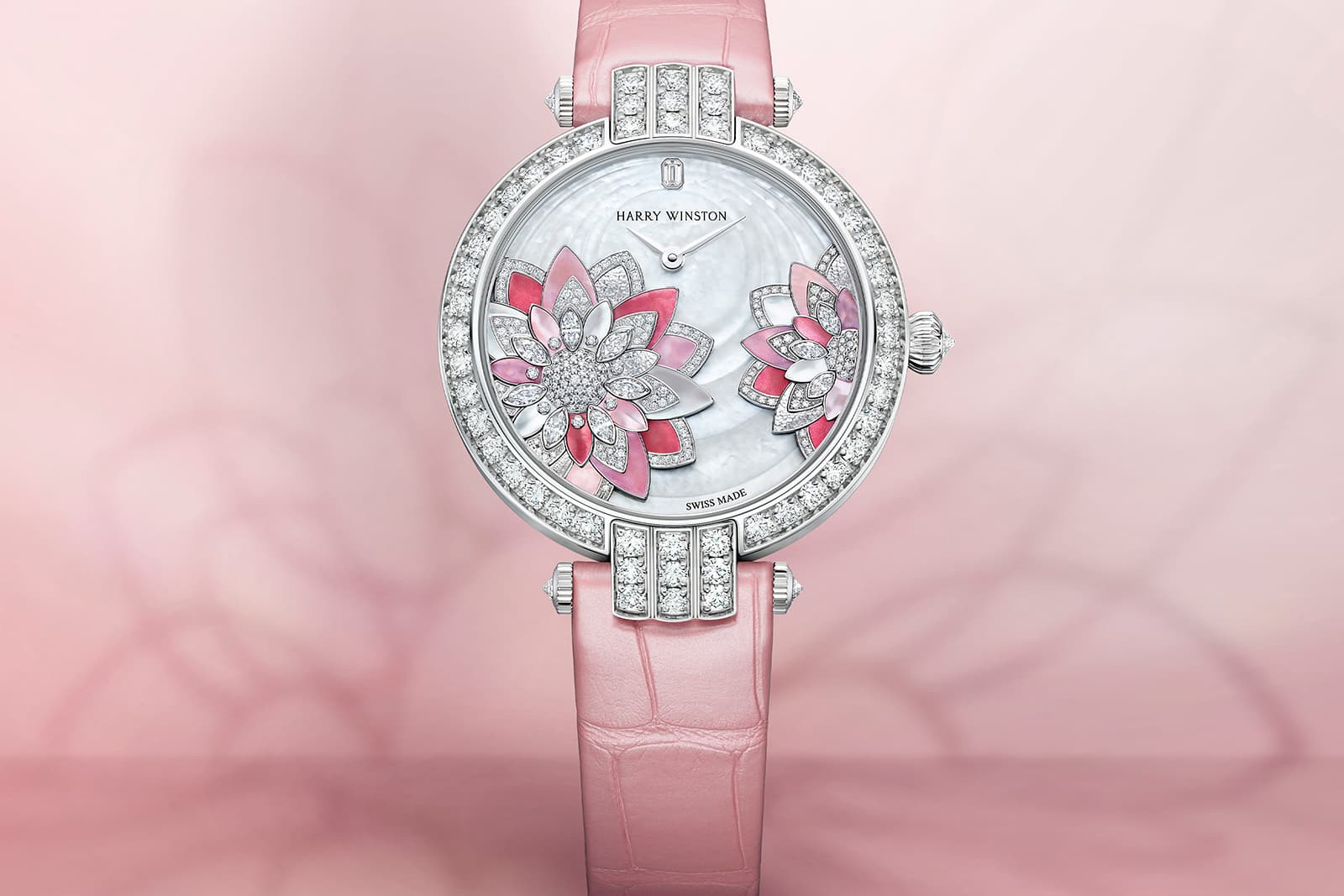 The new Harry Winston Premier Lotus Automatic 36mm watch featuring mother of pearl and diamonds, set to form the delicate lotus flower