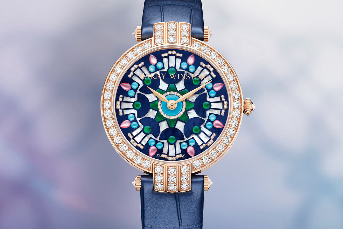 Harry Winston Premier Kaleidoscope high jewellery watch with a mother-of-pearl dial set with diamonds and turquoise and mother-of-pearl cabochons