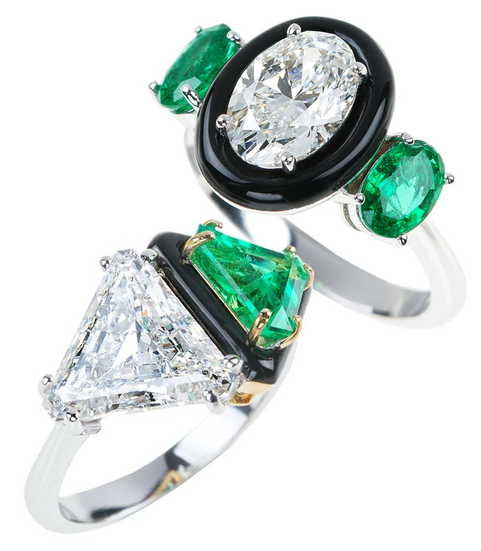 Nikos Koulis engagement rings with emeralds and diamonds