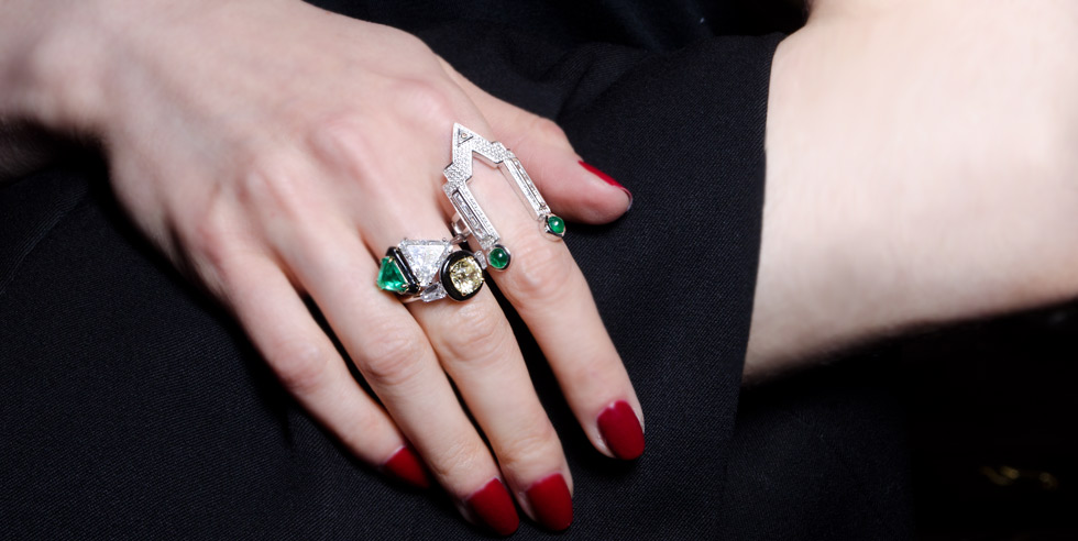Nikos Koulis rings with emeralds and diamonds