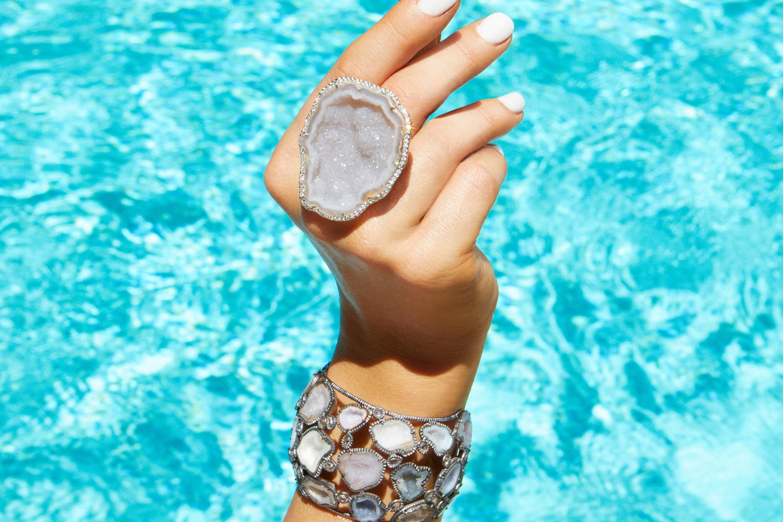 "Kimberly McDonald geode ring and bracelet. The NYC-based designer believes that stones evoke or amplify different moods, geodes in particular, which ""just seem happy"""