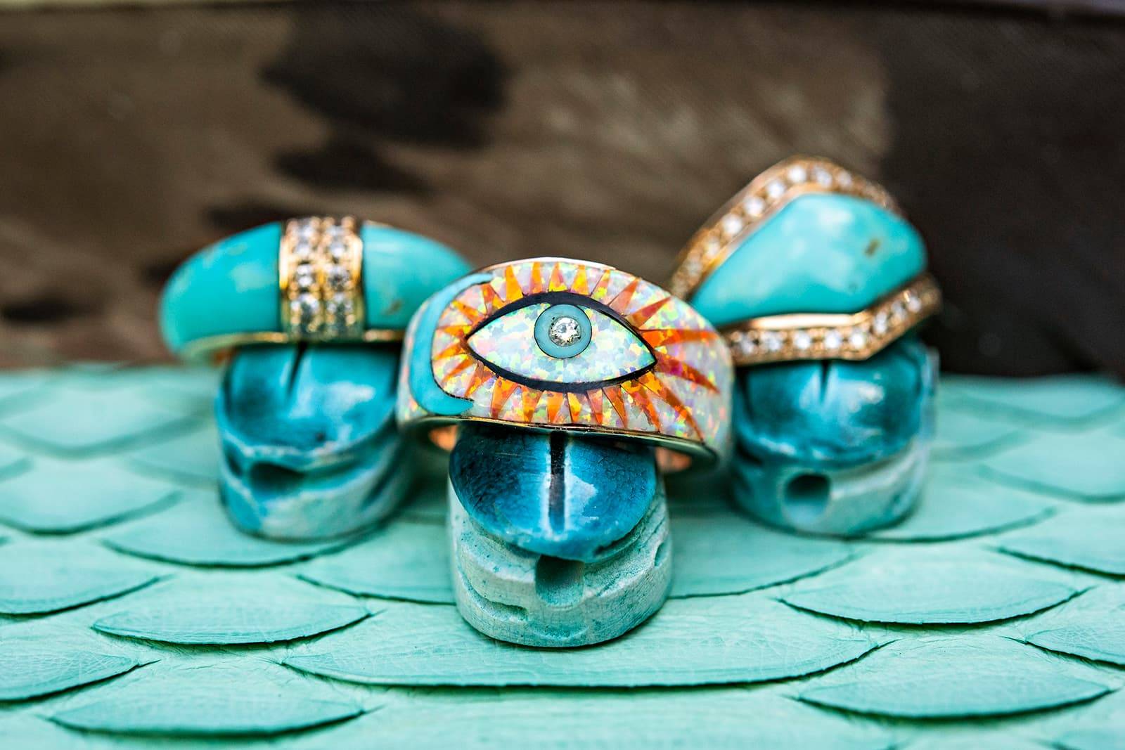Jacquie Aiche believes that turquoise is a powerful healing stone that centres the spirit and allows positive energy to flow freely