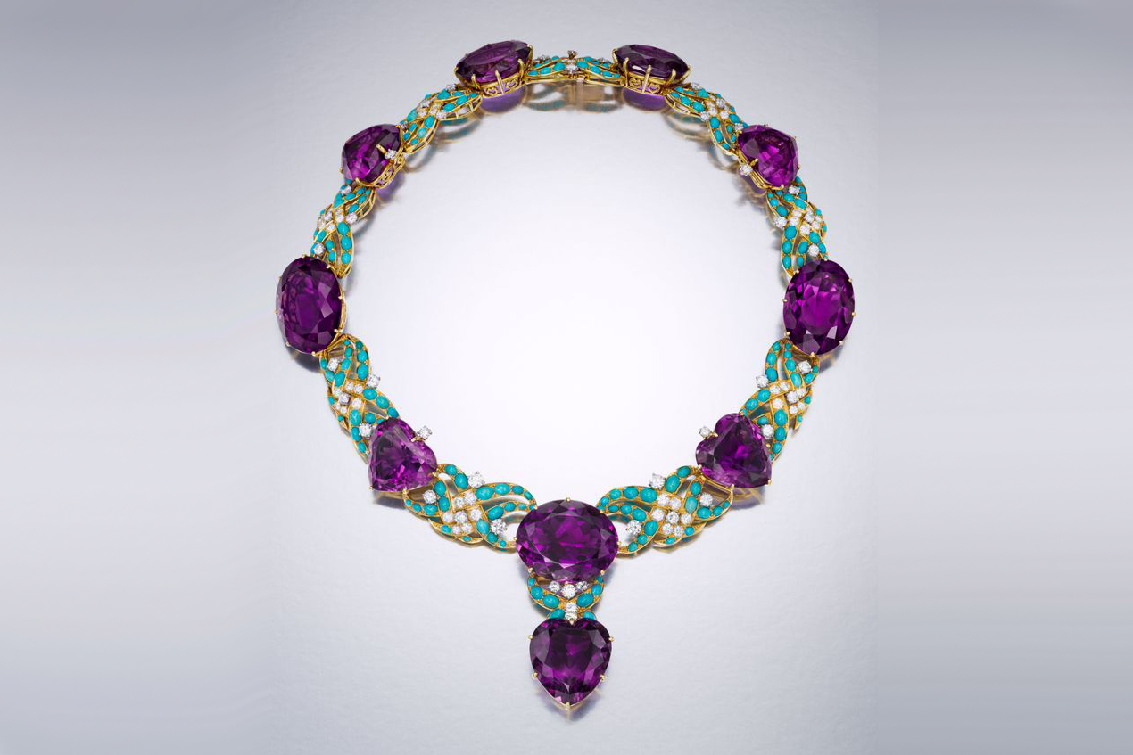 Marjorie Merriweather Post's Cartier amethyst and turquoise necklace, circa 1950-1951