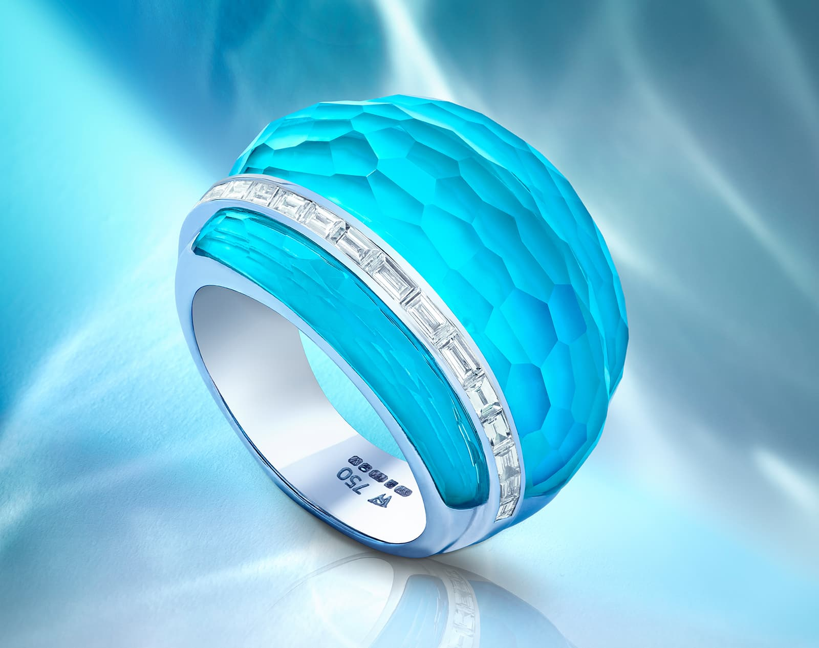 Stephen Webster CH2 cocktail ring with turquoise and quartz Crystal Haze and baguette cut diamonds in 18 carat white gold