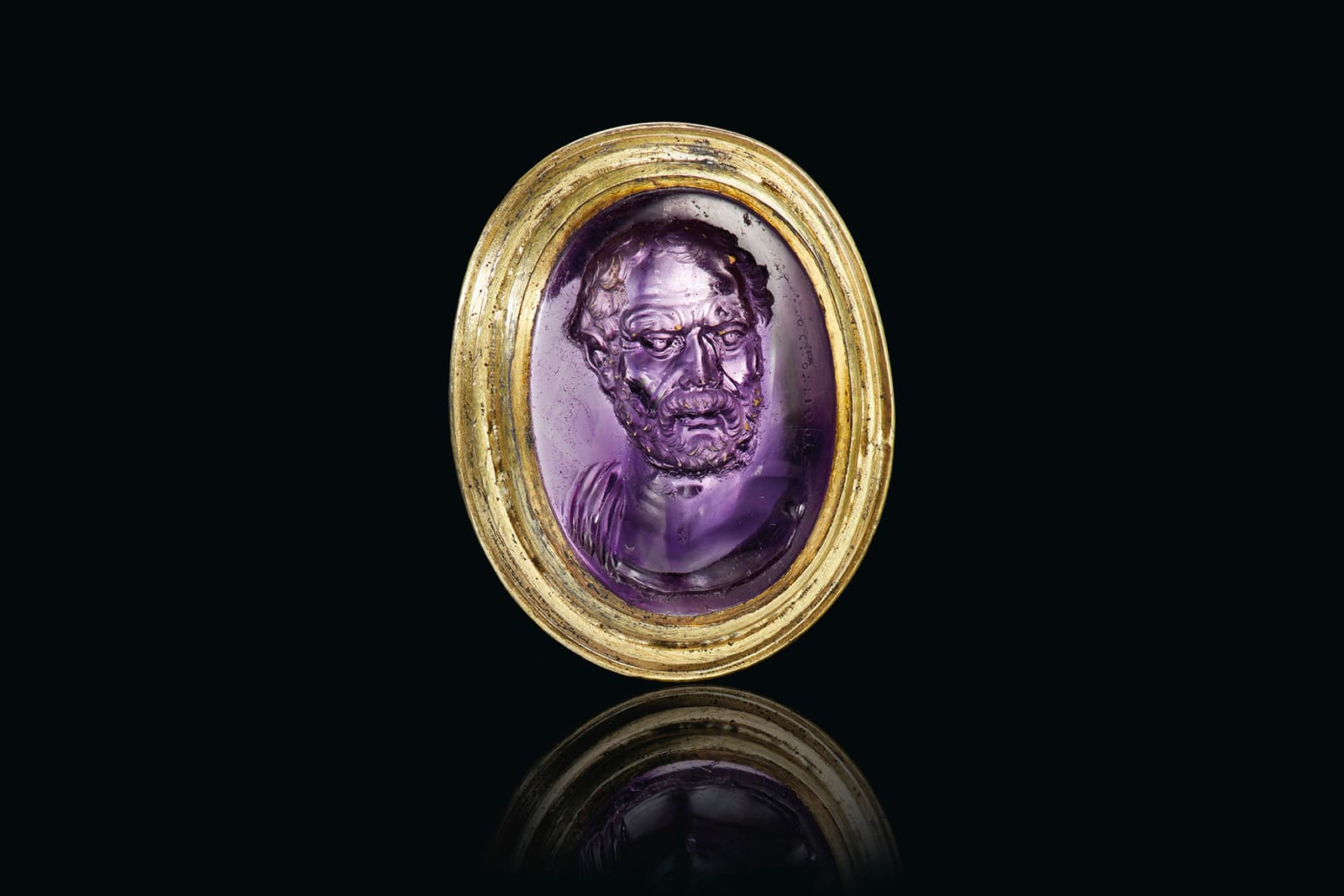 A Roman amethyst ring with a portrait of Dioskourdies, circa late 1st century BC, sold in 2019 by Christies's New York for $1.6 million