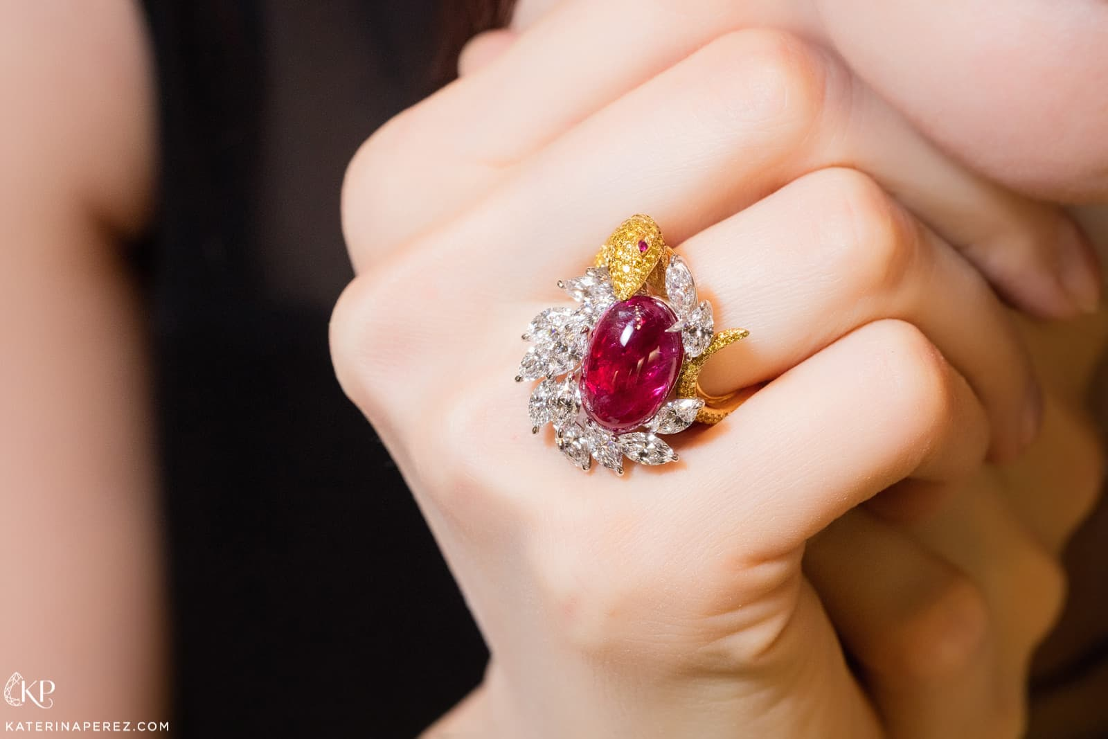 Faidee cabochon Burmese ruby and diamond ring