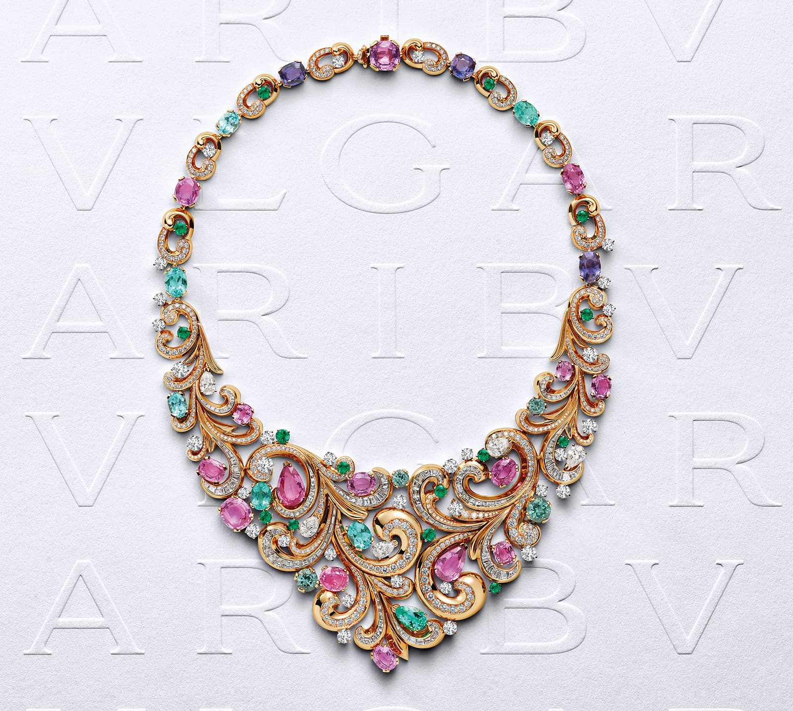 Bvlgari Borocko Lady Arabesque high jewellery necklace, set with sapphires, Paraiba tourmalines, emeralds and diamonds in 18 carat rose gold