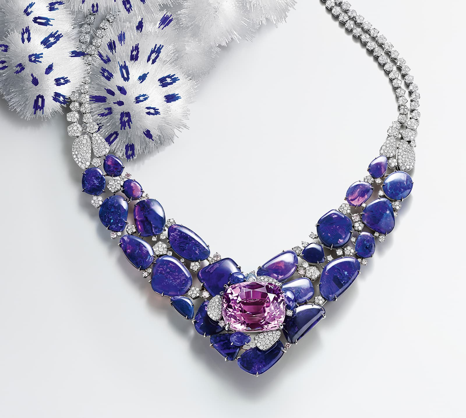 Cartier SUR[NATUREL] high jewellery necklace, set with a 71.80 carat kunzite, black opals and diamonds