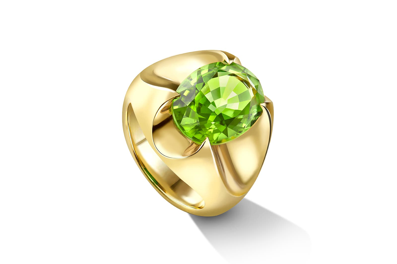 Liv Luttrell collaborated with the progressive peridot miner on this unique ring, which is set with a 3.94 carat oval-shape Fuli Gemstones peridot