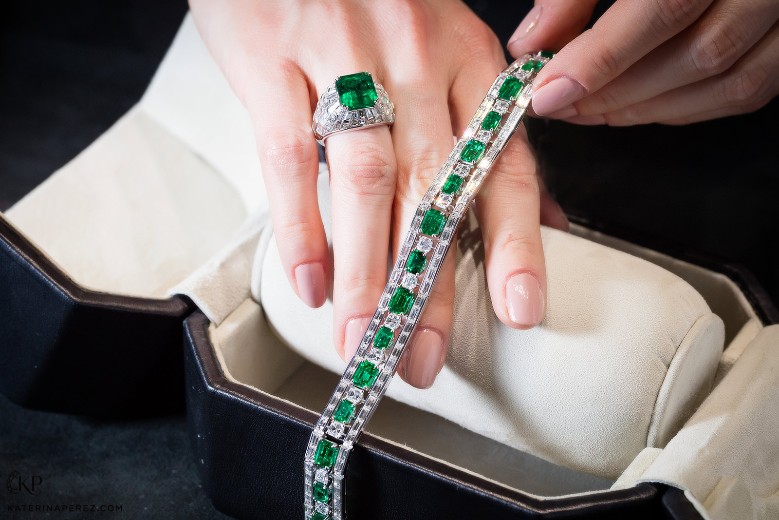 Picchiotti emerald and diamond bracelet and ring