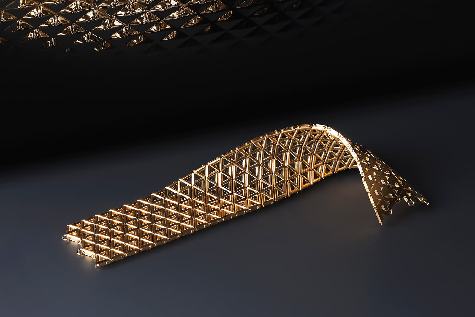 The mesh-like LV Volt bracelet is super sleek and supple