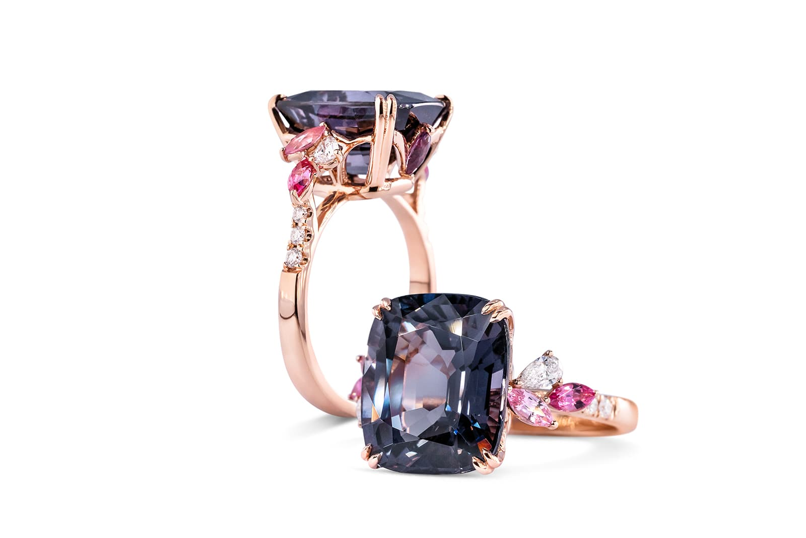 Almost 8 carat grey spinel Madly ring with hot pink spinel and marquise diamond accents