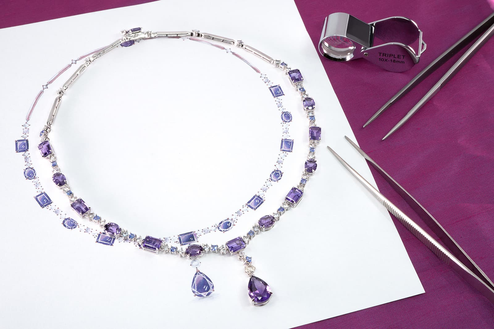 Madly amethyst necklace with diamonds
