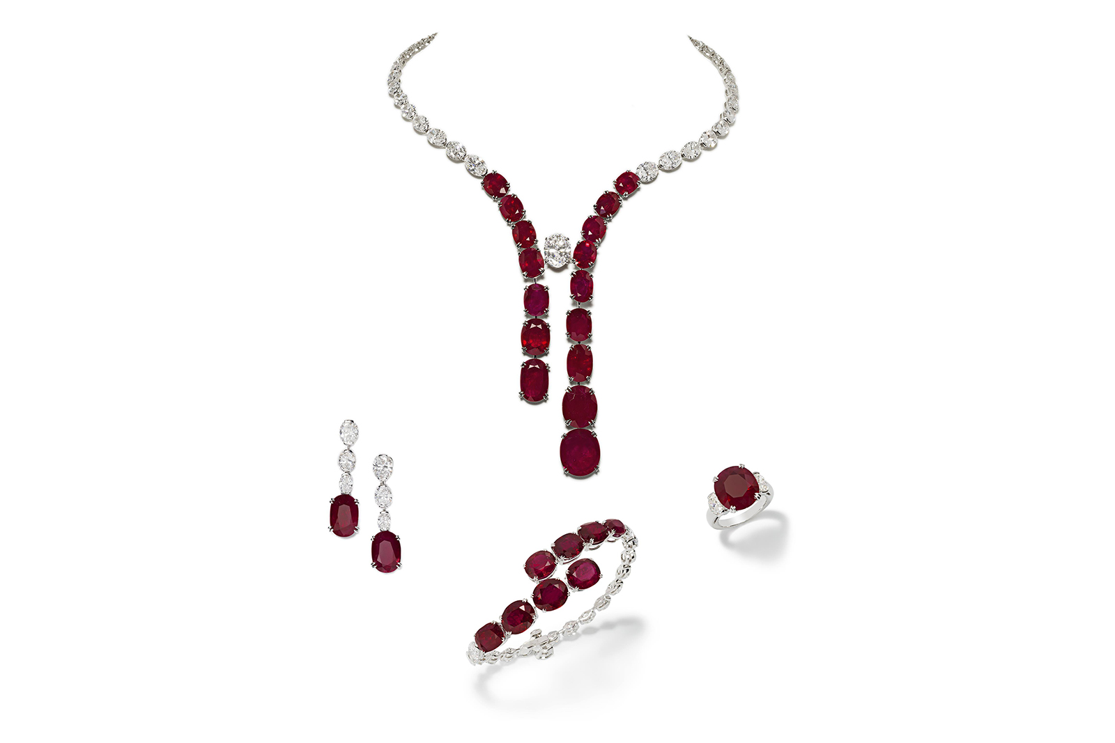This one-of-a-kind set by Jahan is a masterpiece that contrasts the rich beauty of rubies with the purity of classic white diamonds