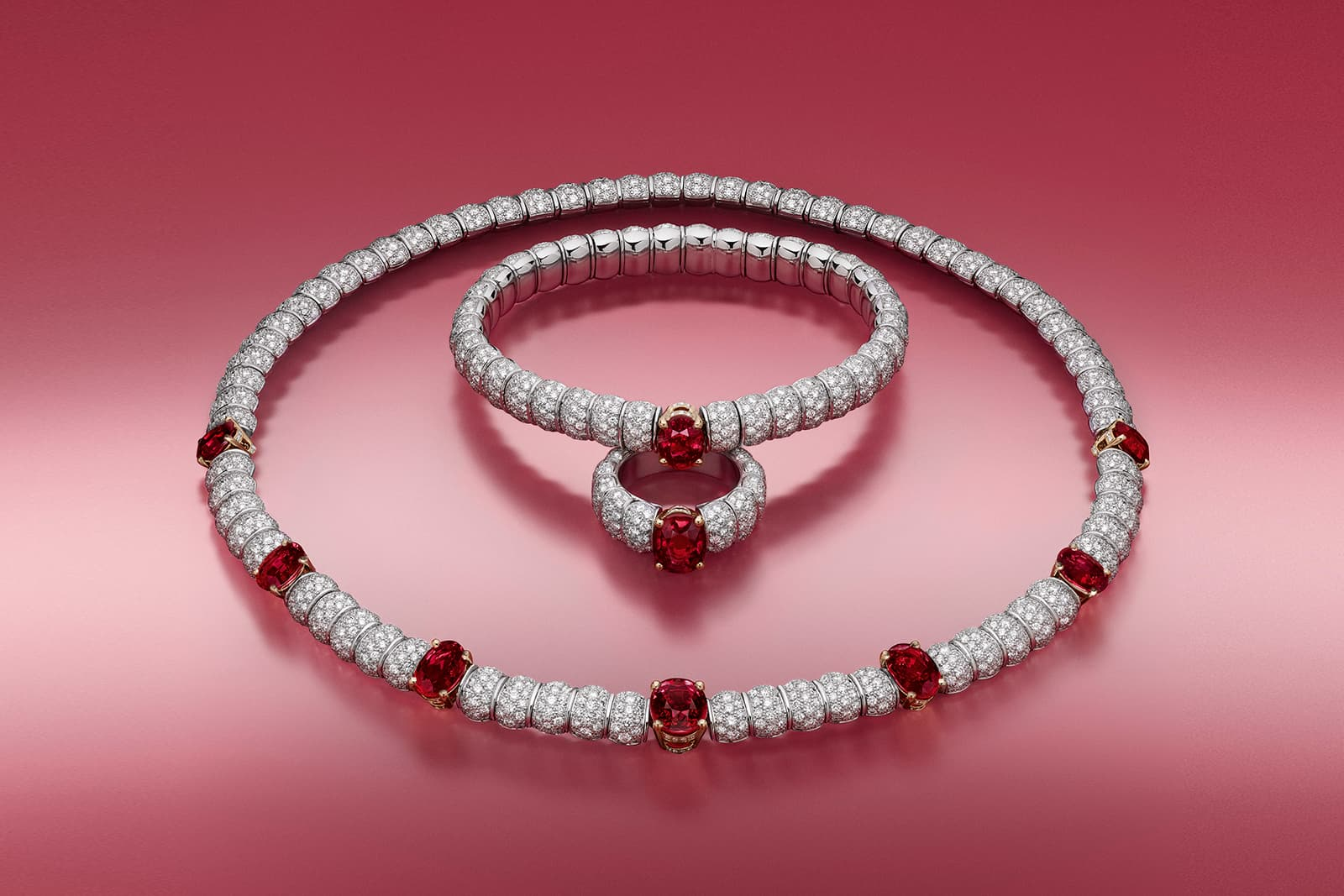 Louis Vuitton Stellar Times Astre Rouge ruby and diamond high jewellery necklace, bracelet and ring