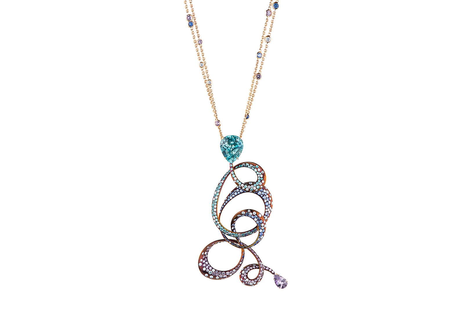 Neha Dani Kephi blue zircon and sapphire necklace