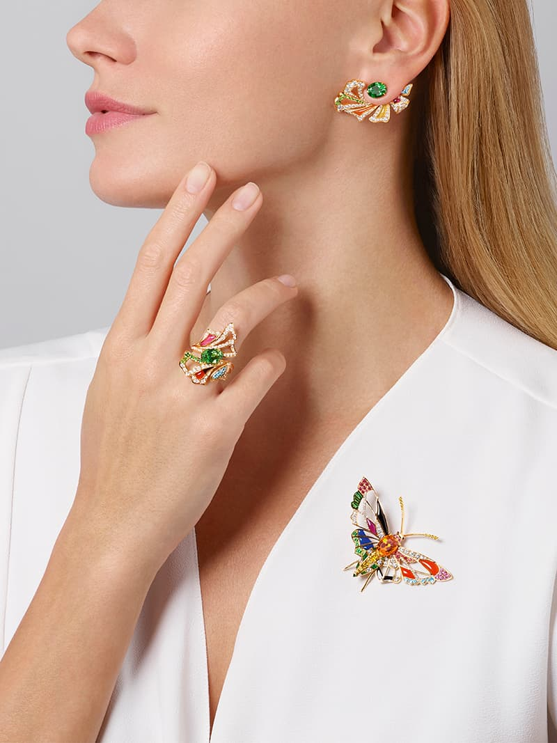 Éclosion de Chaumet earrings, ring and brooch with multi-coloured gemstones