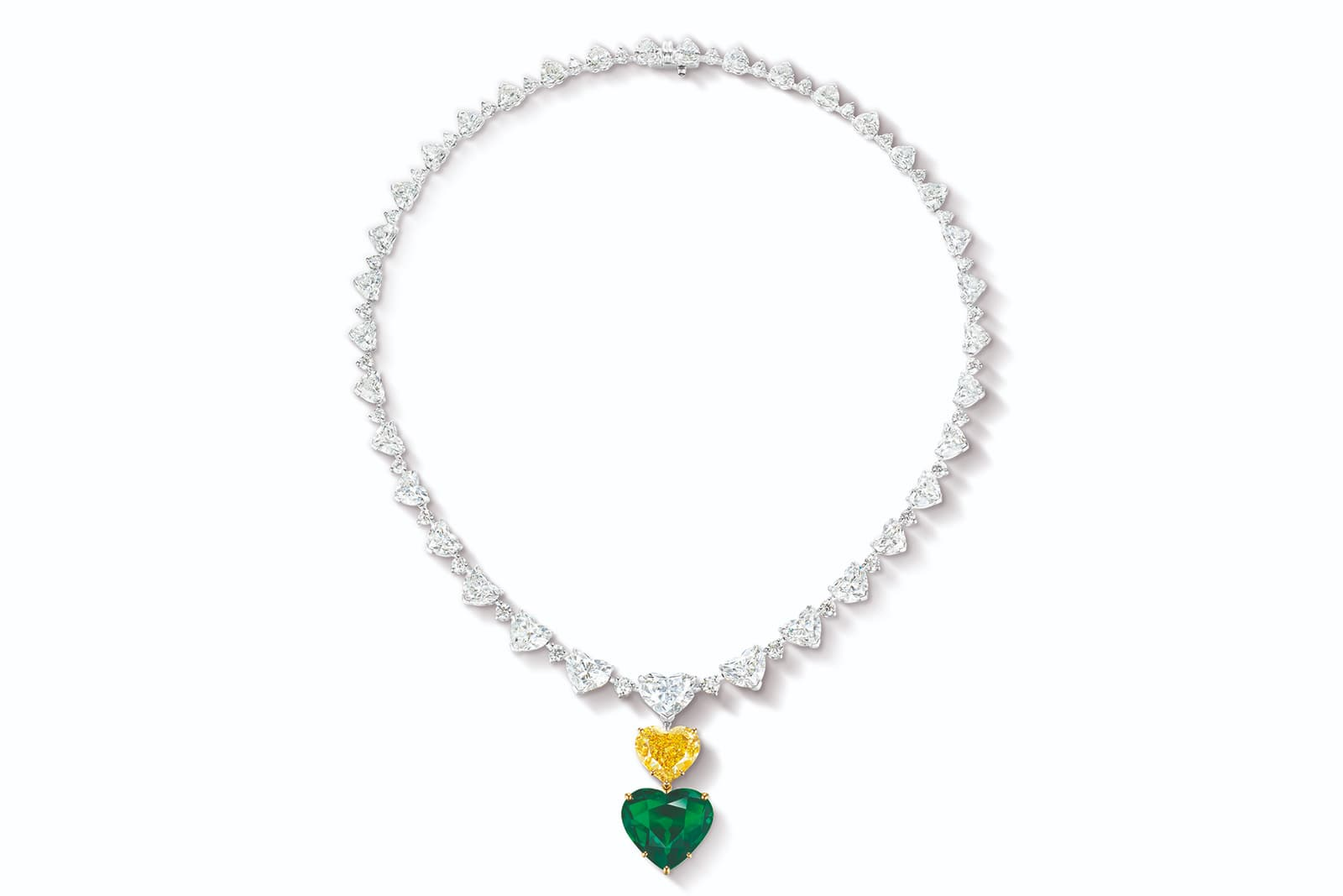 Ronald Abram heart-shape diamond necklace with a 6.34 carat heart-shaped fancy vivid yellow diamond and a 10.88 carat heart-shaped Colombian emerald