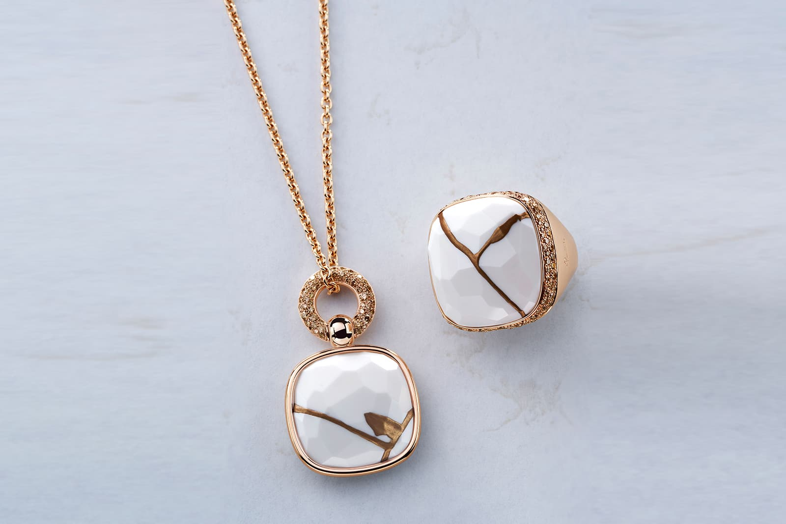Pomellato Kintsugi Collection ring and pendant in rose gold with kogolong and brown diamonds