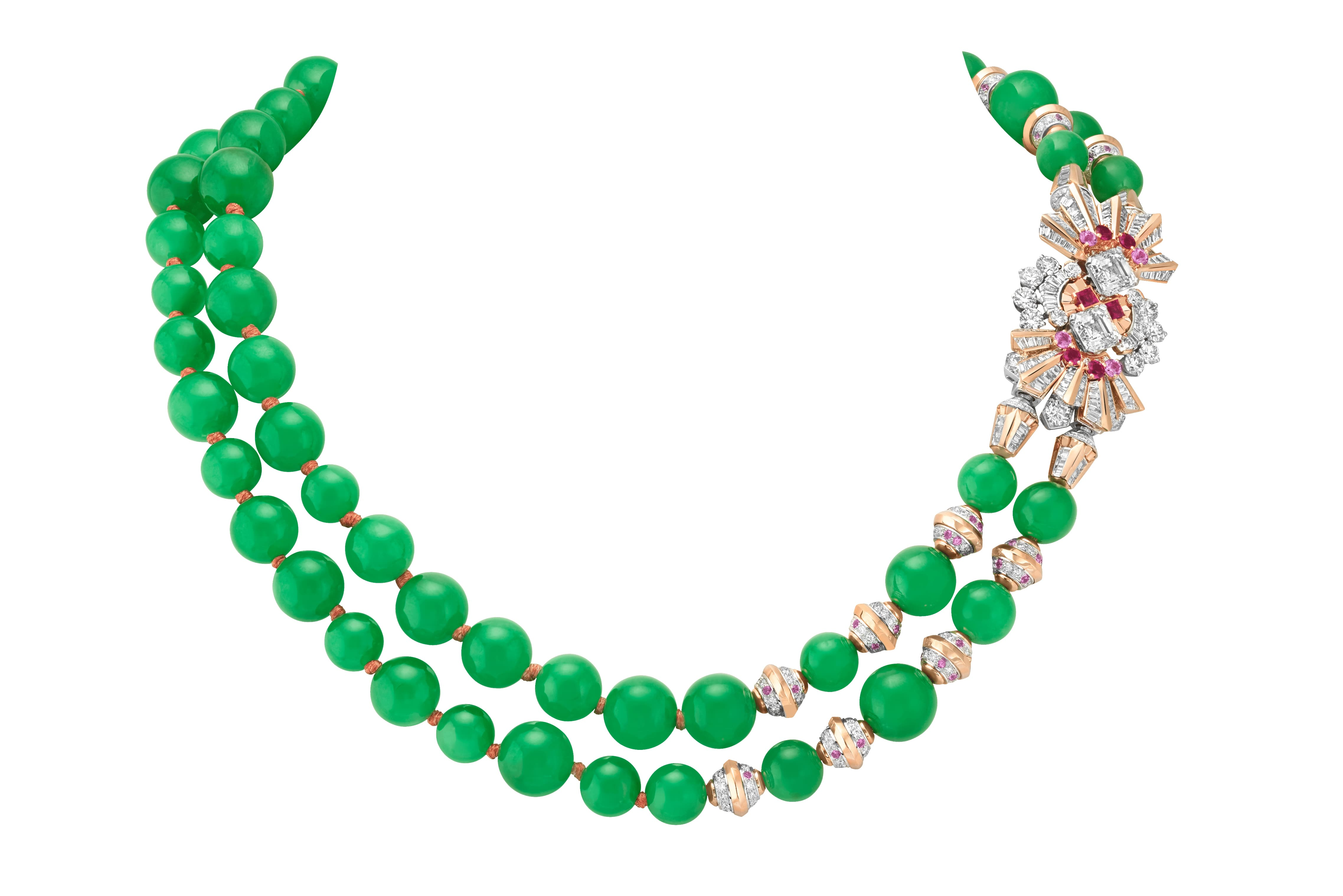 Van Cleef & Arpels Étoile Binaire transformable necklace with 63 jade beads, two asscher cut diamonds, pink sapphires, rubies and further diamonds