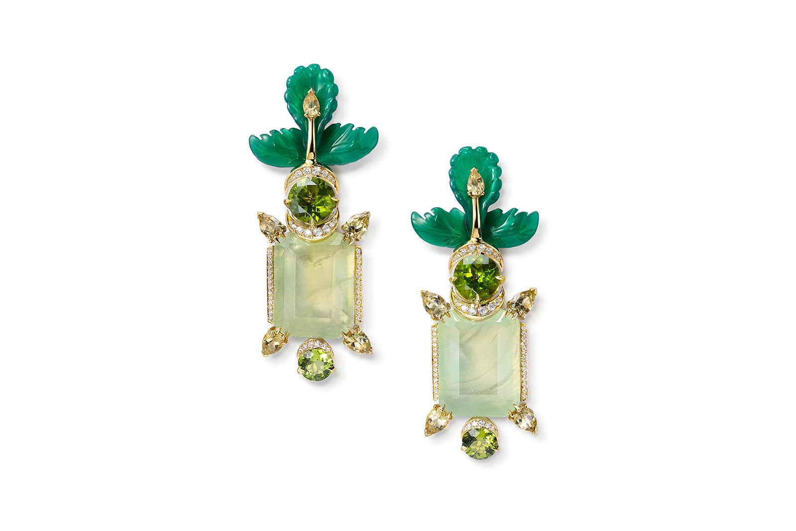 Dreamcatcher Trees earrings by Sabine Roemer set with detachable handcarved green agate leaves, emerald-cut green prehnite, faceted peridots and 0.66cts of white diamonds