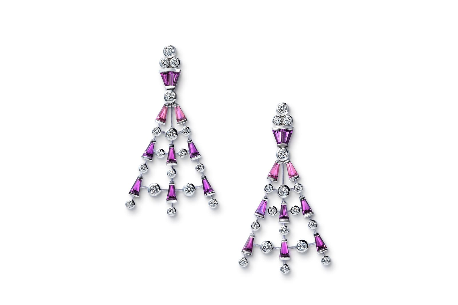 New Beginnings earrings set with tapered pink tourmalines and 0.53 cts of white diamonds by Sabine Roemer