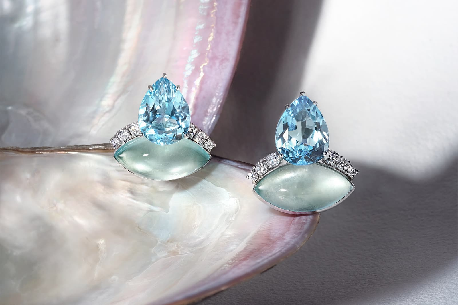 Sail Away With Me earrings with pear-shaped London blue topaz, marquise-shaped aquamarine cabochon and 1.36cts of white diamonds