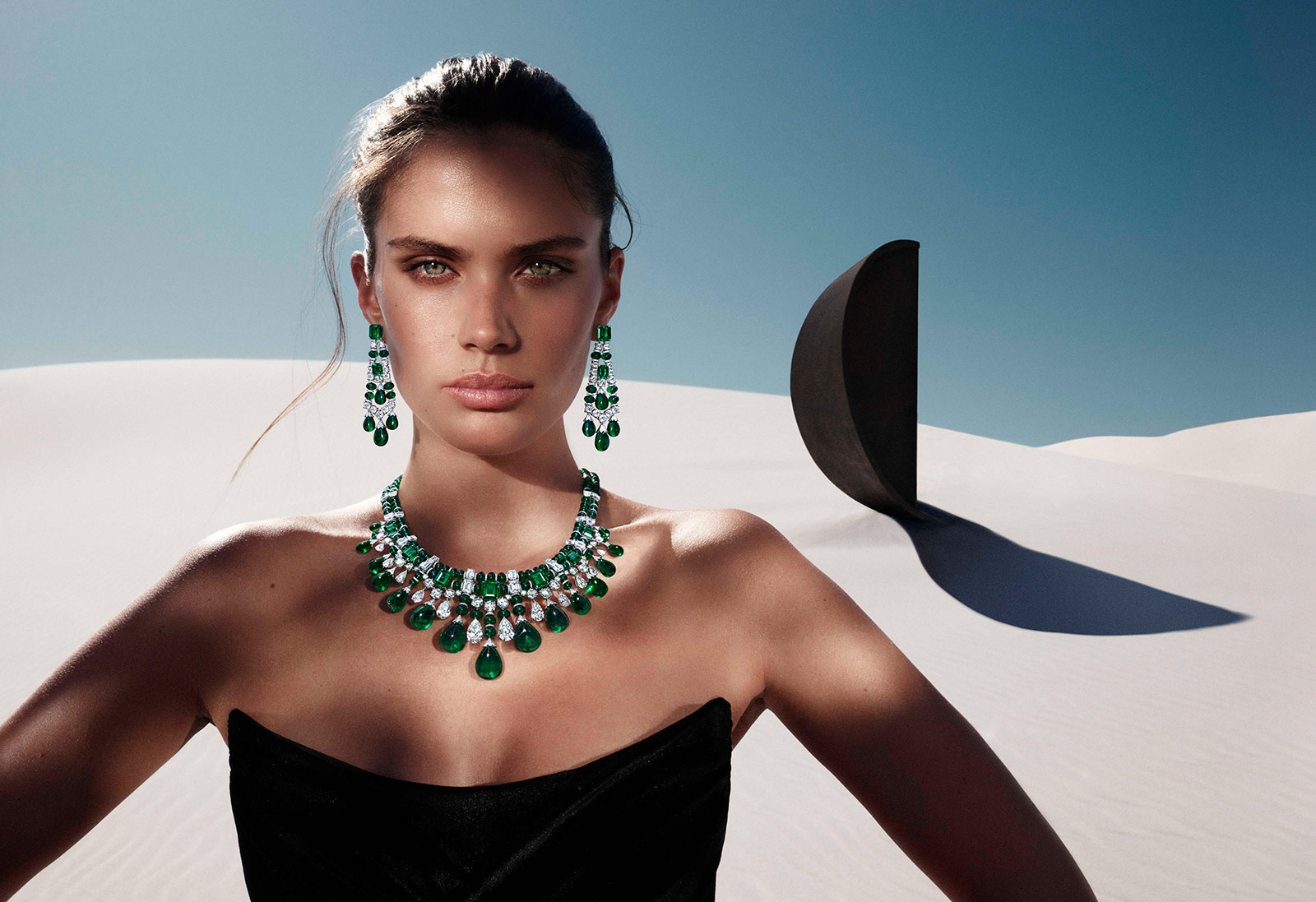 Pieces from the Graff Tribal High Jewellery Collection, including a pair of earrings with 60 carats of emeralds and 9 carats of diamonds and a matching necklace with 418 carats of emeralds and 76 carats of diamonds