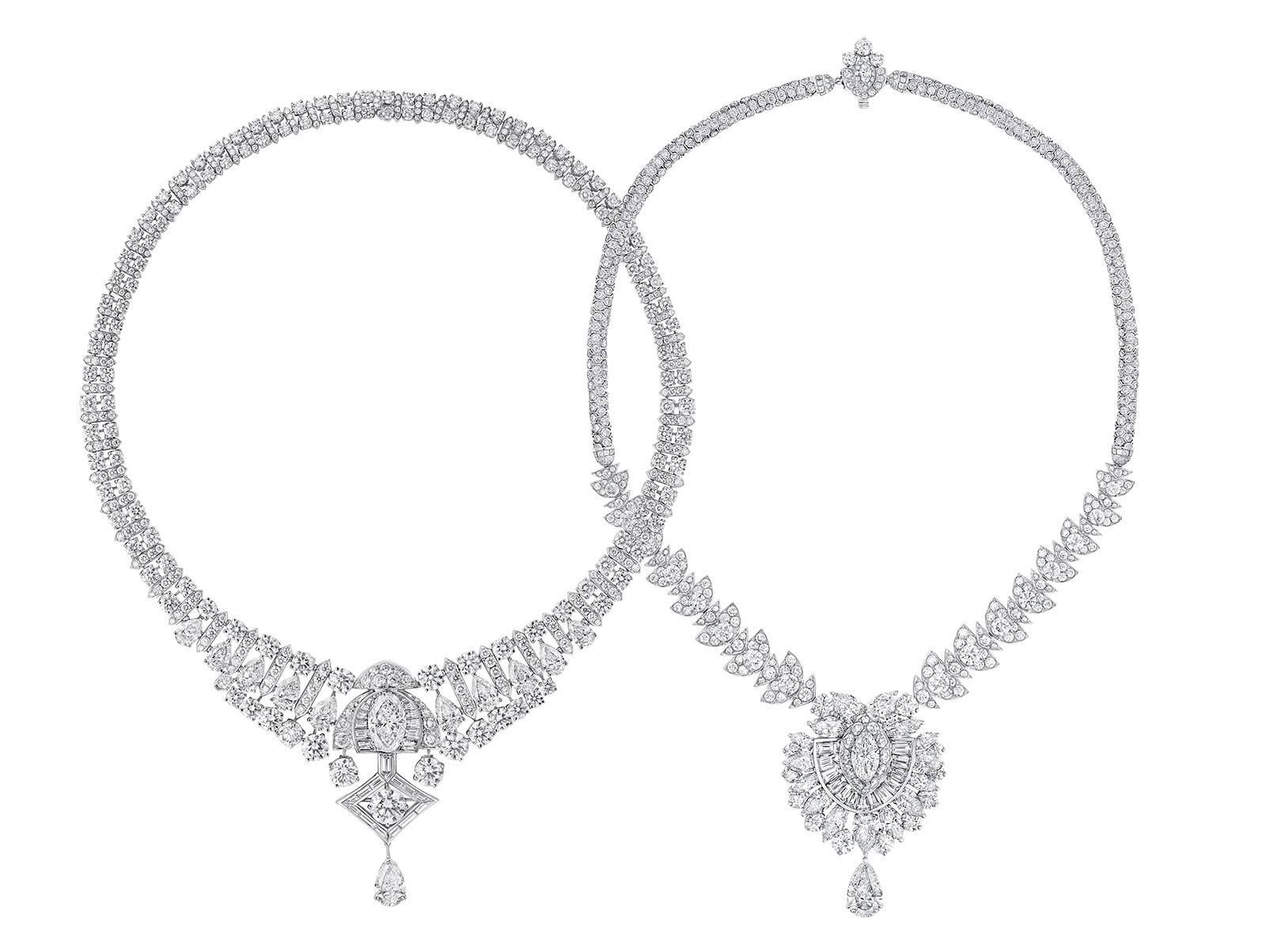 Two necklaces from the Graff Tribal High Jewellery Collection with 52 carats and 43 carats of diamonds, respectively